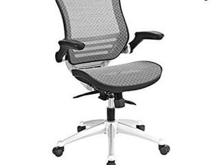 Modway Edge All Mesh Office Chair In Gray With Flip Up Arms   Perfect For Computer Desks
