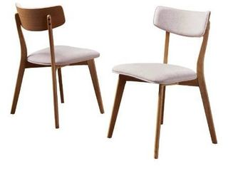 Caleb Mid Century Fabric Dining Chairs with Natural Oak Finished Frame  Set of 2  light Beige
