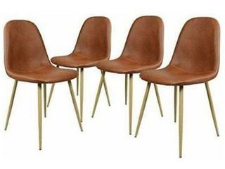 GreenForest Dining Chairs Set of 4Washable PU leather Cushion Seat Kitchen Ro