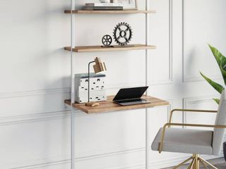 Theo 2 Shelf Industrial Wall Mount ladder Desk  Small Computer or Writing Desk  Rustic Oak  White