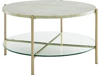 Walker Edison Furniture Modern Round Coffee Accent Table living Room  32 Inch  White Marbl  Gold