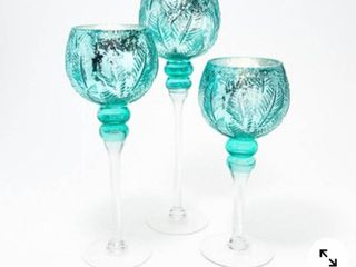 Set of 3 Illuminated Glass Goblets w  leaf Pattern by Valerie