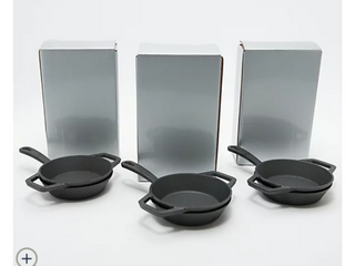 Set of  3  2 Piece Mini Cast Iron Cook Set in Gift Box
