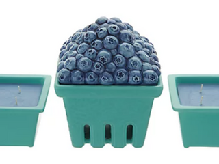 HomeWorx by Harry Slatkin Ceramic Fruit Basket w   2  9 oz Candles