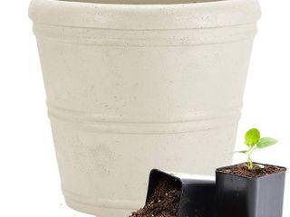 Martha Stewart Garden  Round False Bottom Planter  12 Inch  Gray