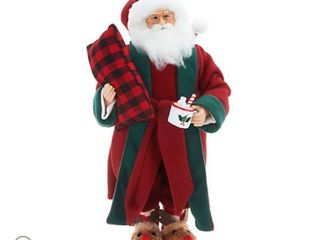 Choice of Plush Santa or Mrs  Claus with Slippers by Valerie