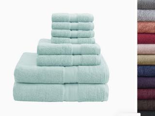 northern nights microcotton 8 piece bath towel set sea glass