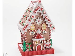 12  Illuminated Gingerbread Cottage with Timer by Valerie