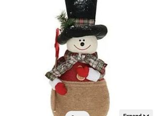 Oversized Mom or Dad Snowman with Plaid Scarf by Valerie