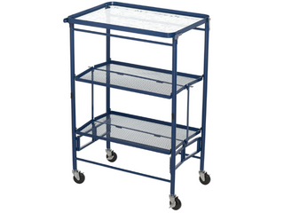 Dark Blue Temp tations Etched Glass Top Collapsible Kitchen Cart