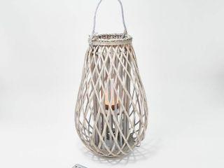 Barbara King 28  Wooden lantern with Tiki Flameless Candle   Remote
