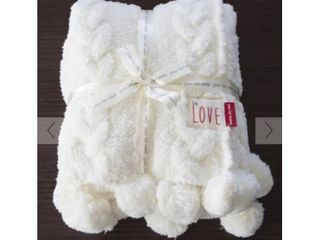 Peace love World 60  x 70  Plush Cable Knit Throw with Pom Poms