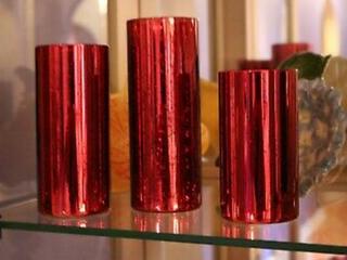 Set 3 IllUMINATED MERCURY GlASS PIllAR HURRICANES Valerie Parr Hill QVC RED