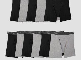 Fruit of the loom Men s 5 6 Super Value Pack Coolzone Boxer Briefs   Black Gray S