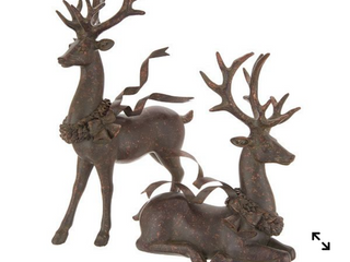set of 2 deer with glowing ribbon by Valerie