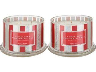 HomeWorx by Harry Slatkin Set of  2  18oz Peppermint lane 4 Wick Candles