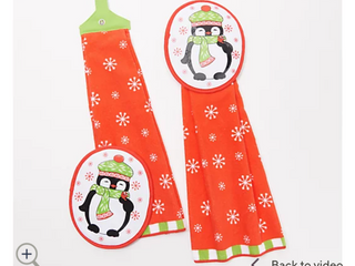 Temp tations Set of 2 Seasonal Kitchen Towel and Mitt Set   Penguins