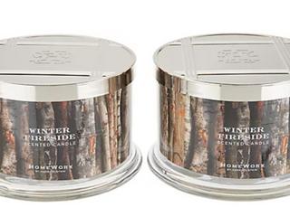 HomeWorx by Harry Slatkin Set of 2 Winter Fireside 4 Wick Candles