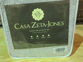 Casa Zeta  Jones Queen Grey Embroidered Quilt Set and shams