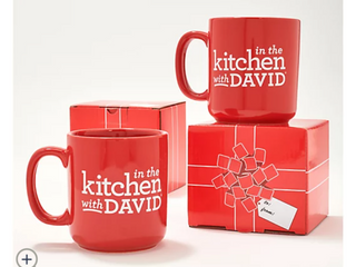 Two Sets of  2  In the Kitchen with David 18 oz Mugs with Gift Boxes