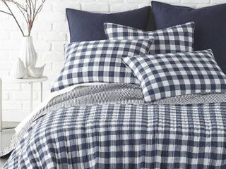 Home Reflections Printed Twin Quilt Set in Navy Plaid