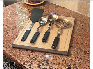 Black Set of 4 Silicone No Mess Cooking Utensils by lori Greiner