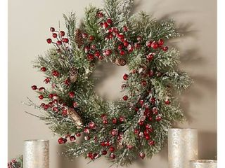 24  Snowy Pine and Berry Wreath by Valerie