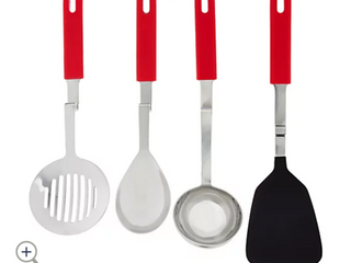 Red   Set of 4 Silicone No Mess Cooking Utensils by lori Greiner