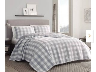 Home Reflections Printed Queen Quilt Set Grey Plaid