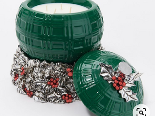 Homeworx by Harry slatkin and green filled ornament with candle holder