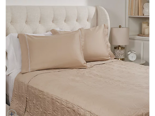 Taupe   Northern Nights Cotton Embroidered Coverlet with Sham   Twin