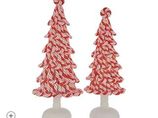 Set of  2  Illuminated Peppermint Candy Trees by Valerie