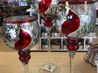 New  Set of 3 Handpainted Holiday Goblets with tealights by Valerie ai Cardinal