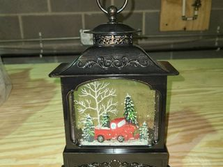 Illuminated Glitter lantern with Holiday Scene by Valerie Red Truck