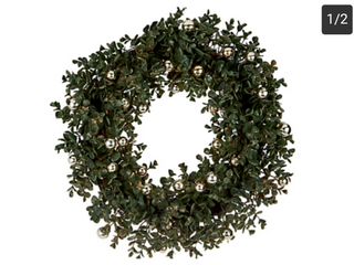 19  Boxwood Wreath with Ornament Accents by Valerie CHAMPAGNE H212452