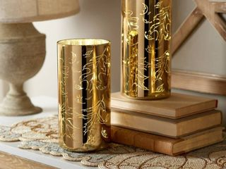 Set of  2  8  Illuminated Etched Mercury Glass Pillars by Valerie