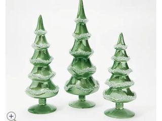 Set of 3 Glass Trees with Beading Detail by Valerie