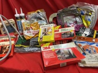 BOX OF WEATHER STRIPPING AND MISC ITEMS FOR