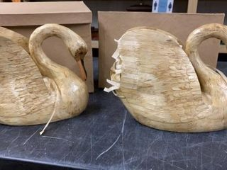 2 VINTAGE BAMBOO SWANS IN ORIGINAl BOXES