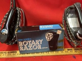 2 VINTAGE IRONS  ROTARY RAZOR BY NORElCO
