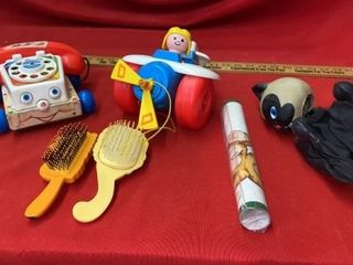 FISHER PRICE VINTAGE TOYS  BRUSHES  WAll PAPER