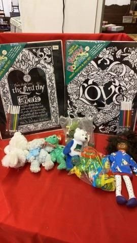POSTER AND PEN SETS   STUFFED ANIMAlS  DOll AND