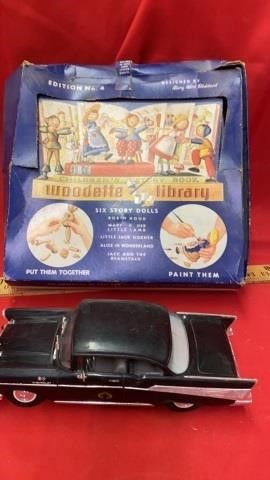 TOY 1957IJ CHEVROlET BlACK CAR AND VINTAGE WOODEN
