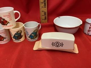 ENAMEl CUP AND BOWl  lIFETIMEWARE BUTTER DISH AND