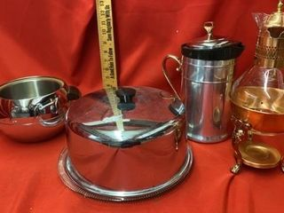 2 COFFEE WARMERS   CAKE DISH AND HOT   COlD