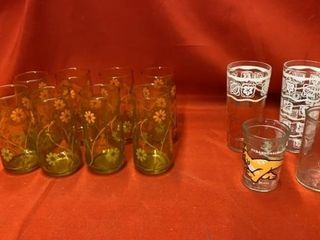 SET OF 8 FlORAl GlASES 3 OTHERS AND A JEllY