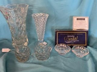 CRYSTAl VASES SUGAR AND CREAMER AND CANDlE STICK