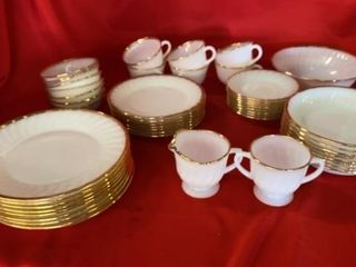 SET OF WHITE WITH GOlD TRIM FIRE KIMG DISHES