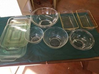 BOWlS   SOME PYREX  2 PYREX BREAD DISHES  2