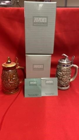 2 AVON STEINS TRIBUTE TO ARMED FORCED AND FIRE